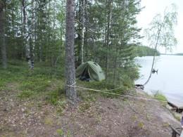 По-быстрому поставили палатку