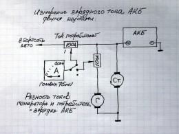 Схема измерения токов на двух шунтах. Разность показаний – ток зарядки АКБ
