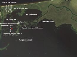 На снимке видна подводная каменная гряда левой кромки судового хода.