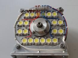 3 группы светодиодов последовательно по 6 шт. в ряду. Подшипниковый щит - радиатор