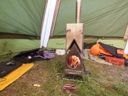 Дровяная печь в палатке