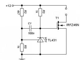 Схема №2 на управляемом стабилитроне.