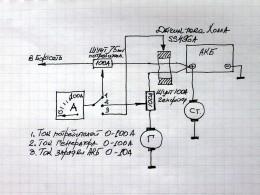 Схема измерения токов генератора, потребителей и зарядки АКБ.