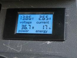 Зарядка от солнечных батарей на стоянке. Ток 2,65А, залито 17 втатт-час.