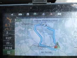 На машине вокруг моста 22 км.